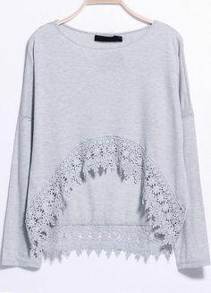 T-Shirt mit Häkelspitze, grau