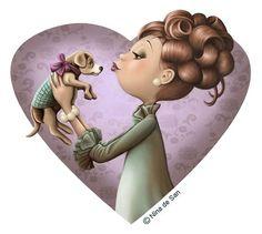 Nina de San - Kisses for puppy. Illustration Mignonne, Cute Illustration, Art Fantaisiste, Art Mignon, Holly Hobbie, Marquis, Whimsical Art, Oeuvre D'art, Belle Photo