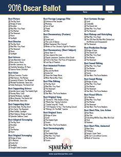 Download the free 2016 Oscar Voting Ballot at http://sparklerparties.com/2016-oscar-party-ballot-sheet/  See more Oscar party ideas at http://sparklerparties.com/blog/plan-an-oscar-party-today/