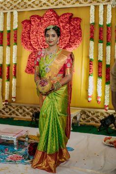 Bridal Sarees South Indian, Bridal Silk Saree, Indian Bridal Fashion, South Indian Bride, Silk Sarees, Telugu Wedding, Saree Wedding, Wedding Attire, Bridal Looks