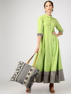 Buy Green Handwoven Khadi Shirt Dress Women Dresses Silhouettes For Summer Color drenched relaxed with embroidery and applique details Online at Jaypore.com