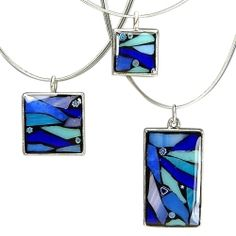 WATER Glass Mosaic Pendant-earth element jewelry, recycled glass jewelry, mosaic pendant, blue glass necklace