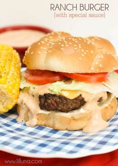Burger Ranch Burgers with special sauce - super easy and yummy burgers perfect for any BBQ! { }Ranch Burgers with special sauce - super easy and yummy burgers perfect for any BBQ! Ranch Burger Recipes, Ranch Burgers, Burger Perfect, Good Burger, Yummy Burger, Burger Night, Sauce Recipes, Beef Recipes, Cooking Recipes