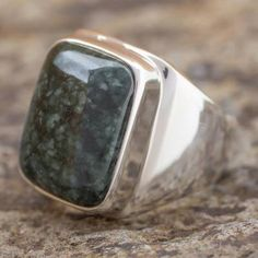 Men's jade ring, 'Fortitude' - Men's Jade and Sterling Silver Signet Ring Mens Turquoise Rings, Men's Jewelry Rings, Diamond Jewelry, Gold Jewelry, Gold And Silver Rings, Jade Ring, Silver Engagement Rings, Ring Engagement, Engraved Rings