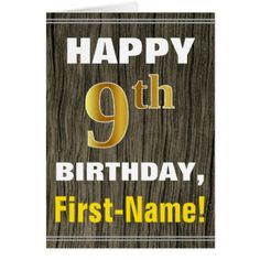 #Bold Faux Wood Faux Gold 9th Birthday  Name Card - #birthday #gifts #giftideas #present #party
