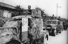 """https://flic.kr/p/dbJejw   Panzerspähwagen IZM (i) (Lancia IZM)   SS-Polizei-Regiment 1 """"Bozen"""" à Bolzano, dans le nord de l'Italie. Ces Lancia de la Première Guerre mondiale étaient en service au sein du 1. Abteilung de cette unité.  Les rails fixés à l'avant servaient à couper les fils de fer tendus en travers des routes par les partisans Yougoslaves."""