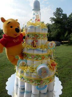 winnie the pooh baby shower party ideas   Winnie the pooh diaper cake baby shower   Baby gift ideas