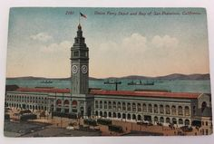 OLD POSTCARD TROLLEY CARS AT UNION FERRY DEPOT,S.F. Bay- SAN FRANCISCO, CALIF.