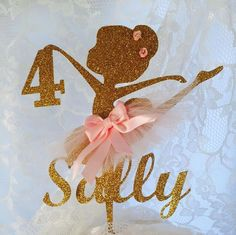 Ballerina Cake Topper - Ballerina Themed Party - Ballet - Ballerina Decorations - Personalized - Birthday - Girl - Ballet Themed Party This beautiful Ballerina Cake Topper is personalized with the name of your choice, the age year and customized to the colors that you would like to match the colors of your party. In the photo the Ballerina Cake Topper is gold glitter and the accents are pink. She has pretty handmade flowers in her hair. Besides using this Ballerina as a Cake Topper you can…