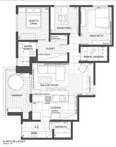 Projeto do escritório Atelier da Reforma - Planta baixa de layout
