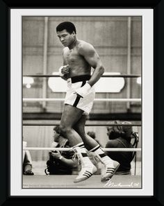 Muhammad Ali - Float - Small Framed Collector Print. 25mm Moulding. Shatter Proof Styrene. Official Merchandise. FREE SHIPPING