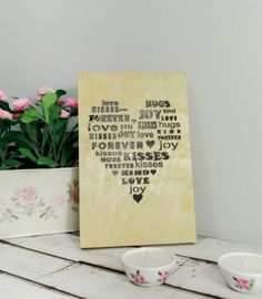 Wooden Poster 3D - Word Heart - Eco #valentines #heart #love #gift