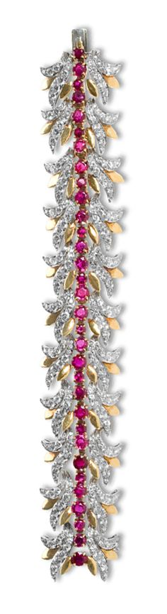 American Mid-Century Tiffany & Co. Gold, Platinum, Ruby and Diamond Bracelet  A Mid Century rare and possible unique signed Tiffany & Co. 18 karat, platinum, ruby and diamond bracelet, featuring rubies of approximately 8.30 carats and diamonds of approximately 12.70 carats, circa 1950s