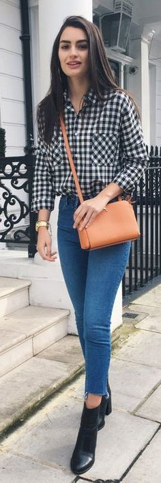 Blue Checkered Shirt, Gingham Shirt, Checked Shirt Outfit, Black Check Shirt, Oversized Plaid Shirts, Black Leather Pencil Skirt, Plaid Shirt Women, Corduroy Overall Dress, Orange Handbag
