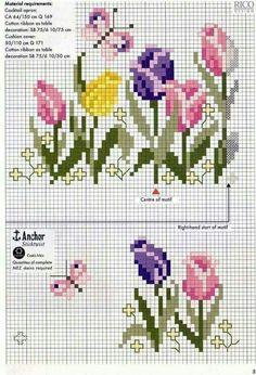 Tulips Border cross stitch chart pattern …… Loads of beautiful flower cross – Embroidery Desing Ideas Cross Stitch Rose, Cross Stitch Borders, Cross Stitch Flowers, Cross Stitch Charts, Cross Stitch Designs, Cross Stitching, Cross Stitch Embroidery, Embroidery Patterns, Hand Embroidery