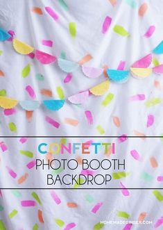 Make a quick confetti photo booth backdrop using items you already have around the house. This is budget friendly and can be used again and again! Diy Photo Backdrop, Photo Backdrops, Colorful Centerpieces, Confetti Photos, Diy Foto, Budget, Partys, Freundlich, Photo Backgrounds