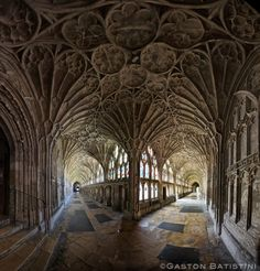 The cloister from the Cathedral of Gloucester or the Cathedral Church of St Peter and the Holy and Indivisible Trinity, England, United Kingdom | by Gaston Batistini