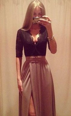Lacey V Neck + Floor Length Side Slit Taupe Skirt