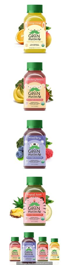 these juices have wrap around labels that complement the flavor. each has the signature bear with a green mustache. the green mustache catches your eye and is interesting to look at. each bottle has a green lid to look healthy and also resembles a vitamin bottle.