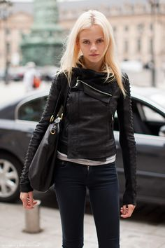 #GintaLapina rocking Rick Owens leather #offduty in Paris.