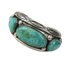 Orville Tsinnie Navajo Silver Turquoise Cuff Bracelet | From a unique collection of vintage cuff bracelets at https://www.1stdibs.com/jewelry/bracelets/cuff-bracelets/