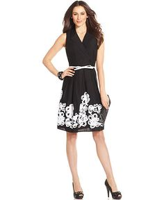 SL Fashions Dress, Sleeveless Belted Floral-Applique, $99