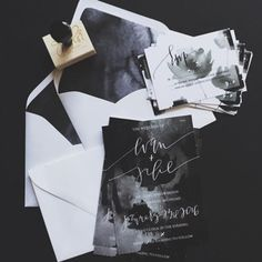 19 a black, white and grey watercolor wedding invitation suite with white envelopes and moody invites - Weddingomania Watercolor Wedding Invitations, Modern Wedding Invitations, Wedding Invitation Suite, Wedding Stationary, Invitation Design, Invitation Cards, Birthday Invitations, Wedding Paper, Wedding Cards