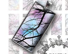 """Digital Collage Sheet 1"""" x 2"""" Domino Size Tree Branches Images for Glass and Resin Pendants Scrapbook Magnets D0009"""