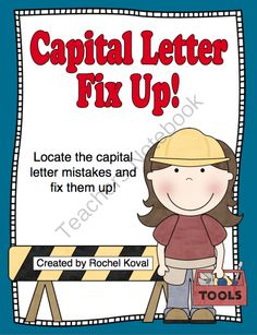 Capital Letter Fix Up! from Rochel Koval on TeachersNotebook.com -  - Have fun fixing up the sentences! CCSS aligned.