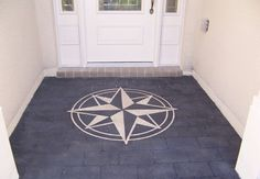nautical compass painted concrete