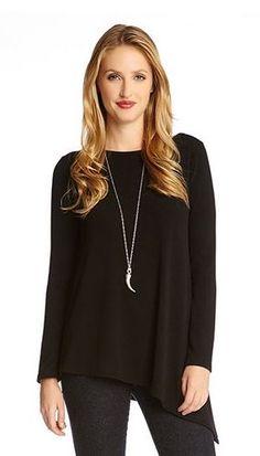 Love Asymmetrical Tops! #Karen_Kane #Black #Asymmetrical #Knit #Top  #Spring #Summer  #Fashion