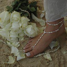Beach Wedding Swarovski Pearl Barefoot Sandals