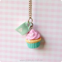 colar chocolate quente com cupcake - cup of hot chocolate with pink cupcake charm necklace- pokkuru - cute kawaii miniature food sweet accessories and jewellery