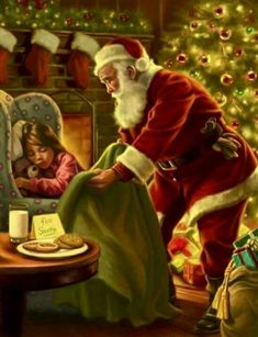 Cookies For Santa - Gregory Copeland artist Christmas Scenes, Father Christmas, Vintage Christmas Cards, Santa Christmas, Christmas Pictures, Antique Christmas, Yule, Photo Souvenir, Santa Claus Is Coming To Town
