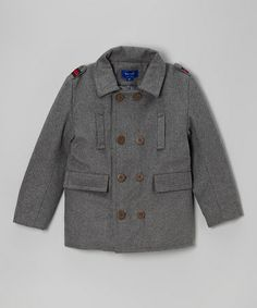 Love this Charcoal Double-Breasted Peacoat - Toddler & Boys by Beetle & Thread on #zulily! #zulilyfinds