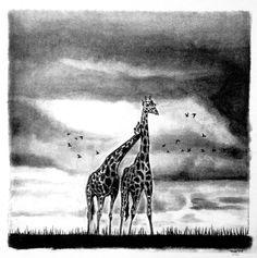 Dibujo de jirafa a carbón por TNK originals