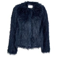 Samsoe & Samsoe Sophia Faux Fur Jacket ($115) ❤ liked on Polyvore featuring outerwear, jackets, fur, coats, navy, faux fur jacket, blue jackets, navy jacket, short-sleeve jackets and faux fur short jacket
