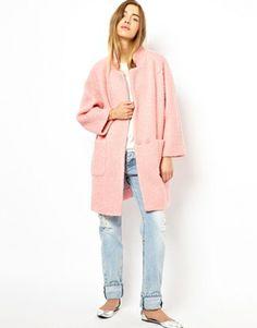 Ganni Poodle Coat in Pink, £240.00