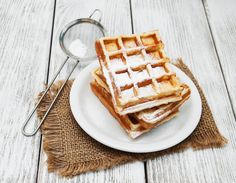 belgian waffles on the table by almaje Belgian Waffles, Nigella, Breakfast Time, Food Photo, Nom Nom, Food And Drink, Low Carb, Cooking Recipes, Cookies