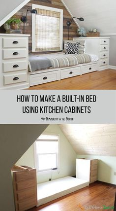 This built-in bed has tons of storage! It was made using stock kitchen cabinets on both sides and a bed platform using the building plans in the post. Roll out trundle drawers add even more storage. I love the rustic shiplap wall in this attic bedroom! Couch Furniture, Furniture Projects, Home Projects, Furniture Design, Barbie Furniture, Garden Furniture, Furniture Online, Furniture Makeover, Modern Furniture