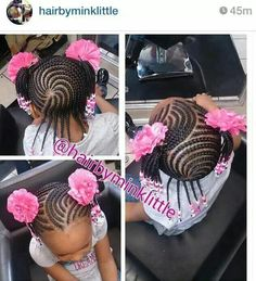 Pretty Cornrow style African American natural protective nature styles for girls kids
