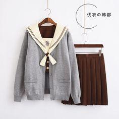 Best School Uniform, School Uniform Outfits, Cute School Uniforms, Cool Outfits, Casual Outfits, Fashion Outfits, Korean Girl Fashion, Japanese School Uniform, Baby Clothes Patterns