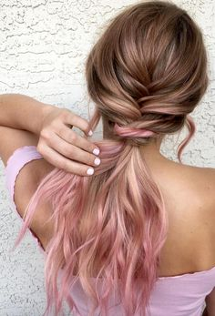 Ombre hair color inspiration,light pink hair color ideas,plait hairstyle,boho ha… - All For New Hairstyles Light Pink Hair Color, Pastel Pink Hair, Ombre Hair Color, Pink Color, Pastel Hair Colors, Brown And Pink Hair, Long Pink Hair, Cabelo Rose Gold, Best Ombre Hair