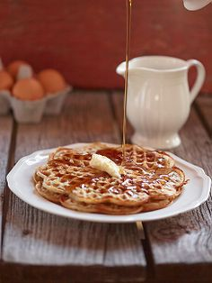 waffles-and-syrup Torill's Table - food stylist - Nancy Goemans Montana Creative from Calgary, Alberta Norwegian Waffles, Gluten Free Waffles, Waffle Mix, Work Meals, Ground Almonds, Food Styling, Syrup, Food Photography, Food And Drink