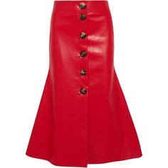 A.W.A.K.E. Faux leather midi skirt ($495) ❤ liked on Polyvore featuring skirts, red skirt, a-line skirt, red flare skirt, red flared skirt and red knee length skirt