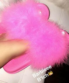 all pink nike sliders // it's barbie bitch Fluffy Slides, Cute Slides, Barbie Life, Cute Sandals, Everything Pink, Shoe Closet, Shoe Game, Shoe Collection, Me Too Shoes