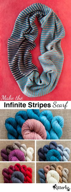 There are infinite versions of this scarf. Ours is designed to use one 4 oz skein as the main color, and one of our Mini-Skein Packs for the contrasting colors. The result is a simple knit, with no-brainer color choices, and a fabulous drape that can be wrapped once or twice around the neck and is sure to go with everything. This project is kitted with the original yarn, Wonderland Yarns Mad Hatter Sport, a soft 100% merino sport weight yarn.