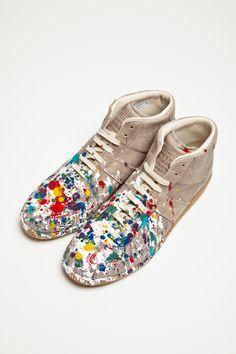 Maison Martin Margiela - Replica Leather Sneaker Mid Paint - TRÈS BIEN (!!!!!!)