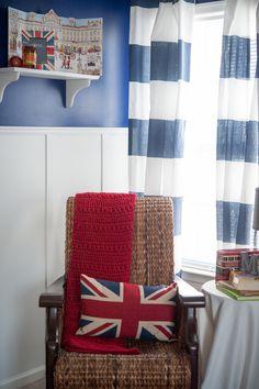 A Paddington Bear-themed Nursery - love the bold colors and English accents! Bedroom Themes, Nursery Themes, Themed Nursery, Nursery Ideas, Boys Room Decor, Boy Room, Kids Room, Victorian Nursery, Bear Nursery