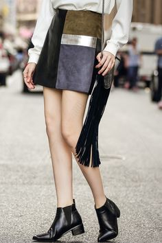 Mini Faux Leather Panel Skirt - COLORMIX S